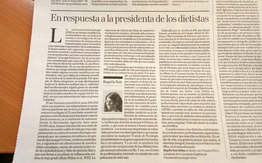 Respuesta en Diario de Navarra a doña Elena Gascón Villacampa, presidenta del Colegio Oficial de Nutricionistas de Navarra